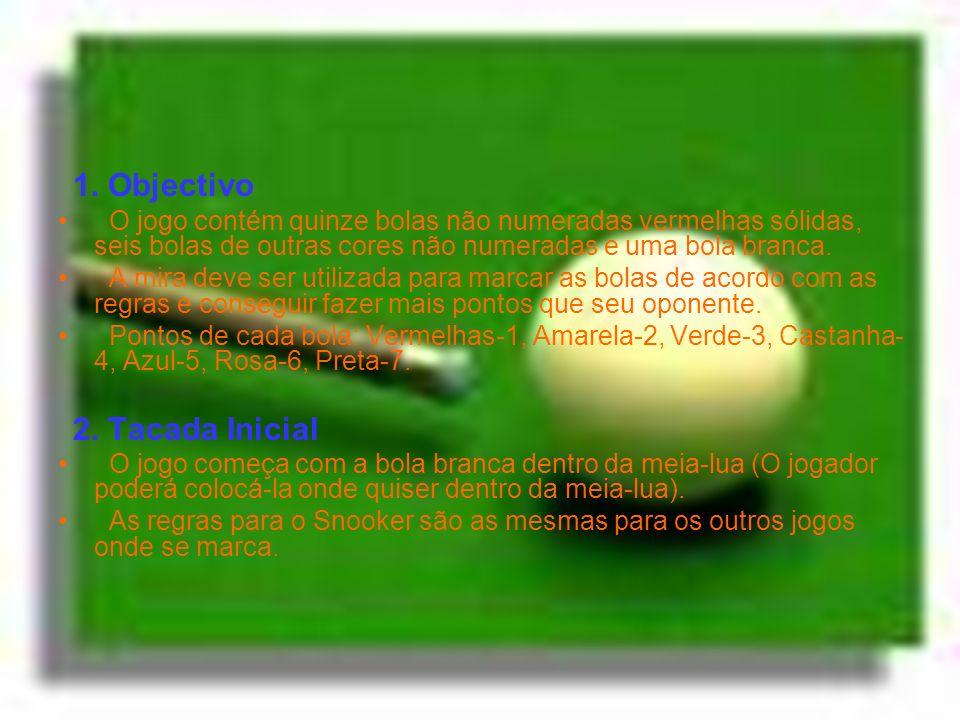1. Objectivo O jogo contém quinze bolas não numeradas vermelhas sólidas, seis bolas de outras cores não numeradas e uma bola branca. A mira deve ser u