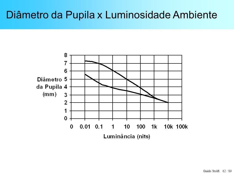Guido Stolfi 62 / 89 Diâmetro da Pupila x Luminosidade Ambiente