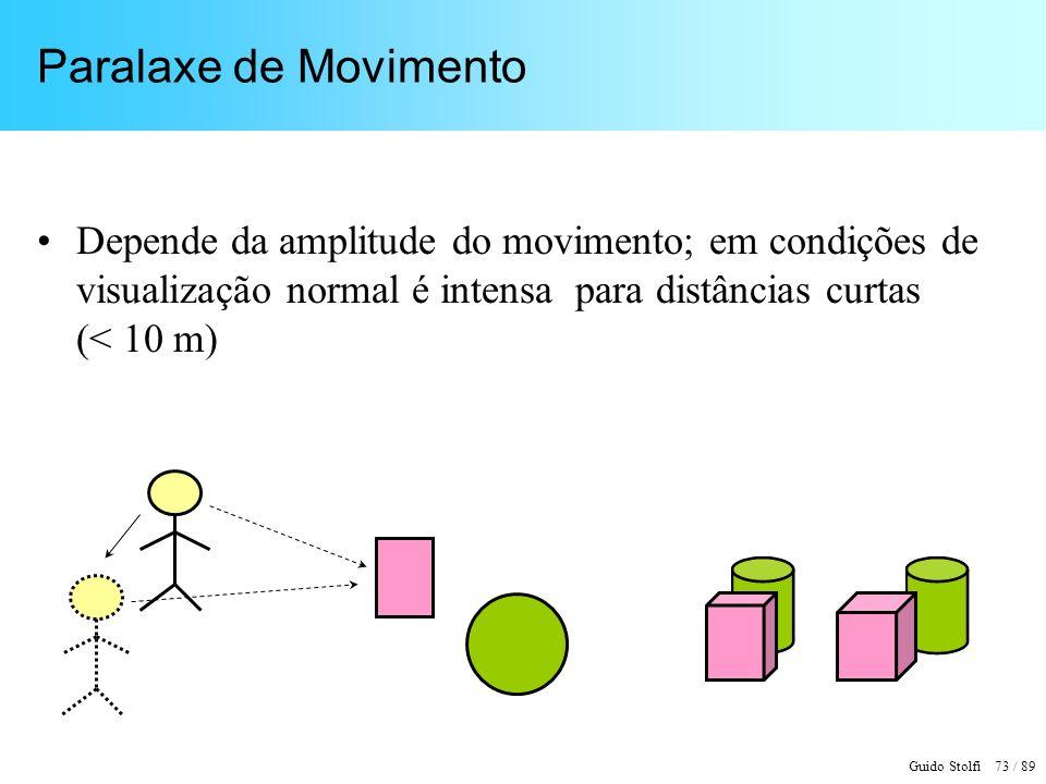 Guido Stolfi 73 / 89 Paralaxe de Movimento Depende da amplitude do movimento; em condições de visualização normal é intensa para distâncias curtas (< 10 m)
