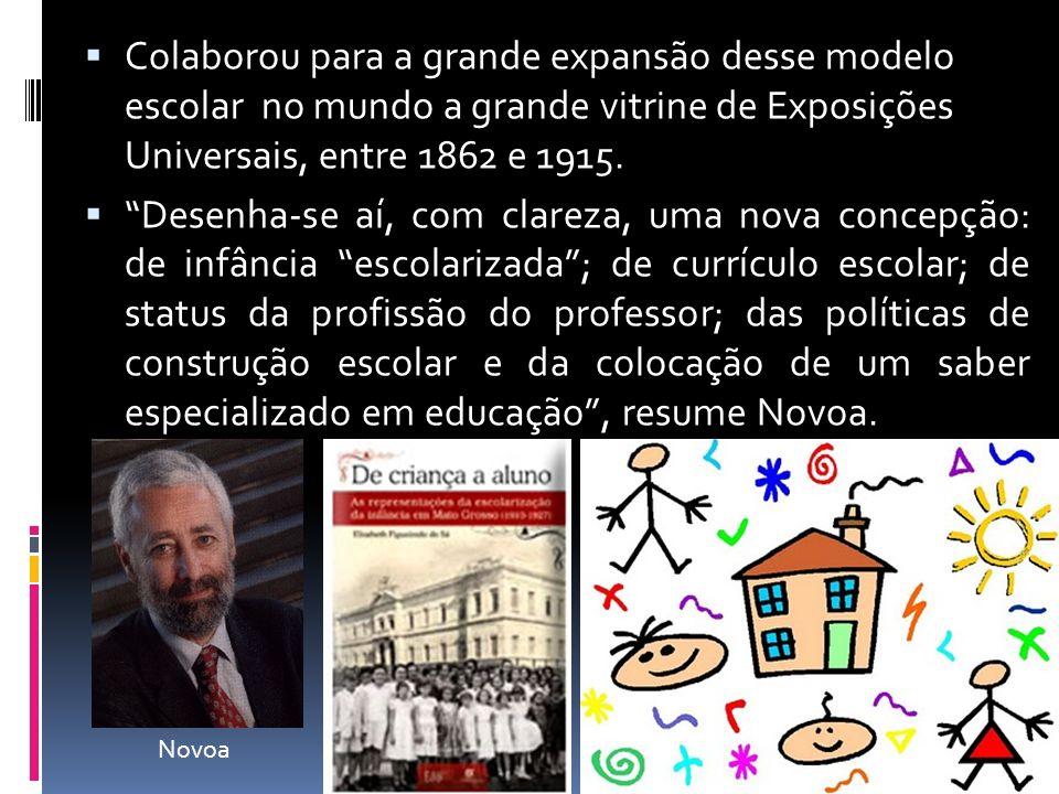 Colaborou para a grande expansão desse modelo escolar no mundo a grande vitrine de Exposições Universais, entre 1862 e 1915. Desenha-se aí, com clarez