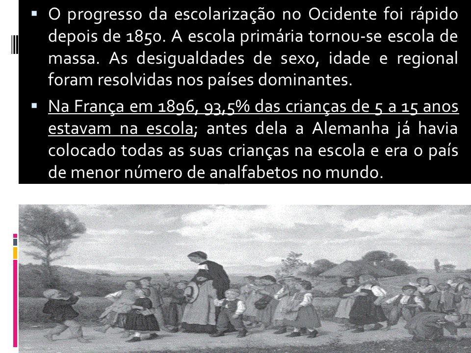 O progresso da escolarização no Ocidente foi rápido depois de 1850. A escola primária tornou-se escola de massa. As desigualdades de sexo, idade e reg