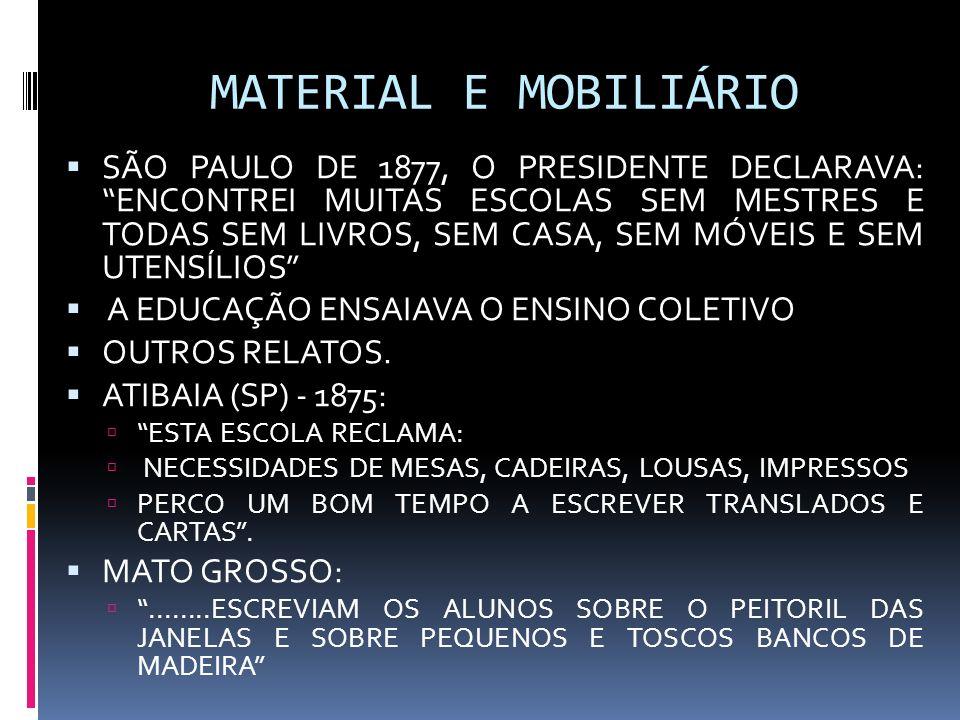 MATERIAL E MOBILIÁRIO SÃO PAULO DE 1877, O PRESIDENTE DECLARAVA: ENCONTREI MUITAS ESCOLAS SEM MESTRES E TODAS SEM LIVROS, SEM CASA, SEM MÓVEIS E SEM U