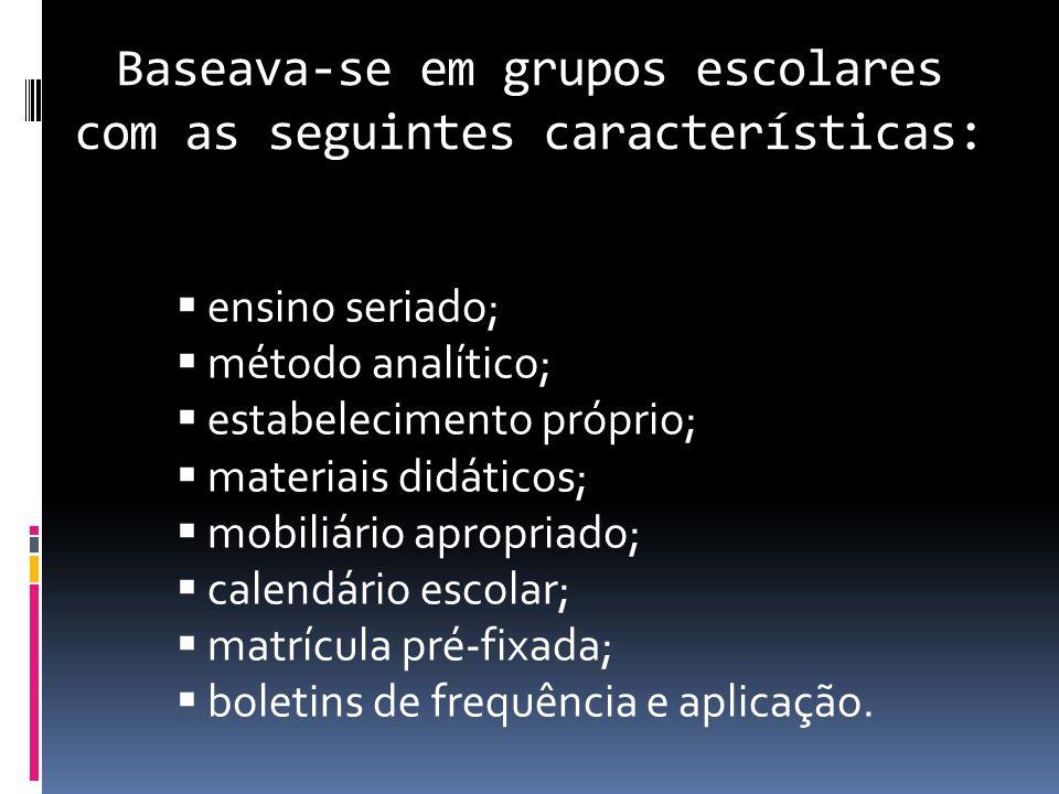 Baseava-se em grupos escolares com as seguintes características: ensino seriado; método analítico; estabelecimento próprio; materiais didáticos; mobil