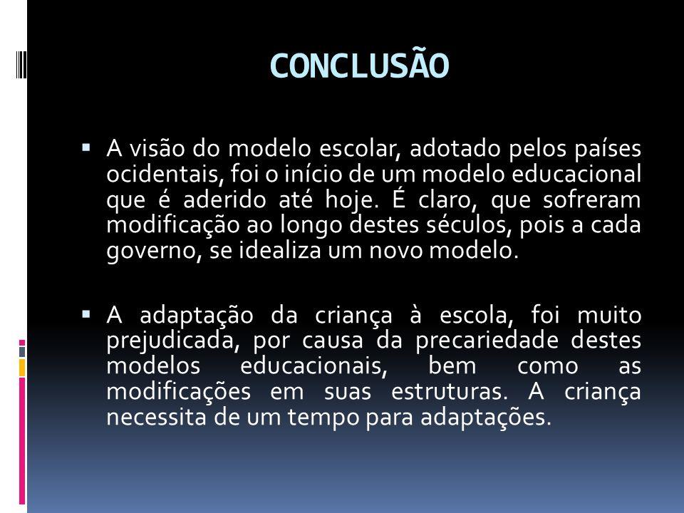 CONCLUSÃO A visão do modelo escolar, adotado pelos países ocidentais, foi o início de um modelo educacional que é aderido até hoje. É claro, que sofre