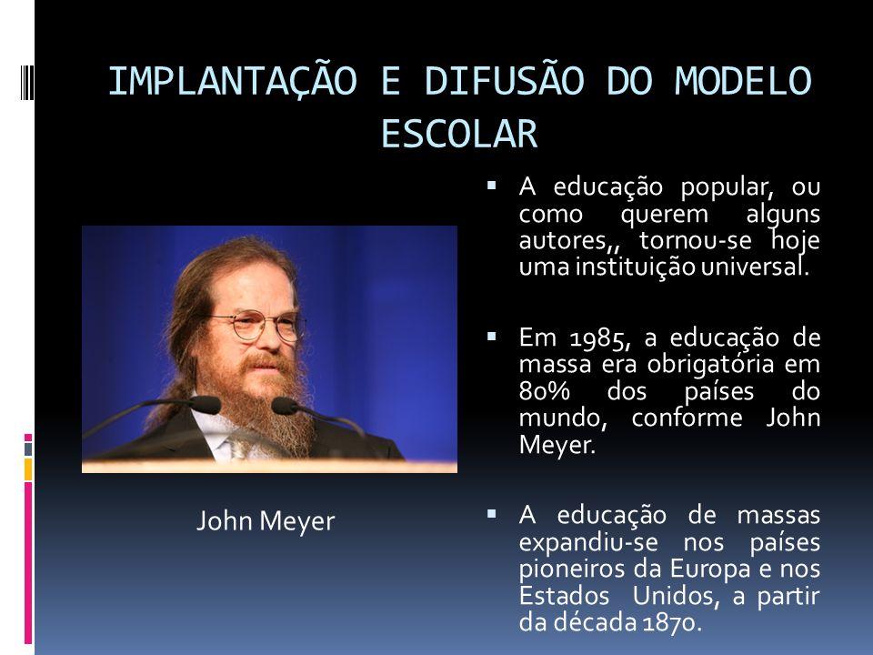 IMPLANTAÇÃO E DIFUSÃO DO MODELO ESCOLAR A educação popular, ou como querem alguns autores,, tornou-se hoje uma instituição universal. Em 1985, a educa