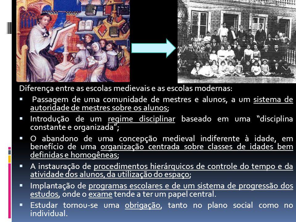 Diferença entre as escolas medievais e as escolas modernas: Passagem de uma comunidade de mestres e alunos, a um sistema de autoridade de mestres sobr
