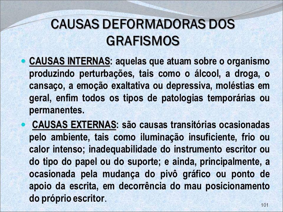 CAUSAS DEFORMADORAS DOS GRAFISMOS CAUSAS INTERNAS CAUSAS INTERNAS: aquelas que atuam sobre o organismo produzindo perturbações, tais como o álcool, a