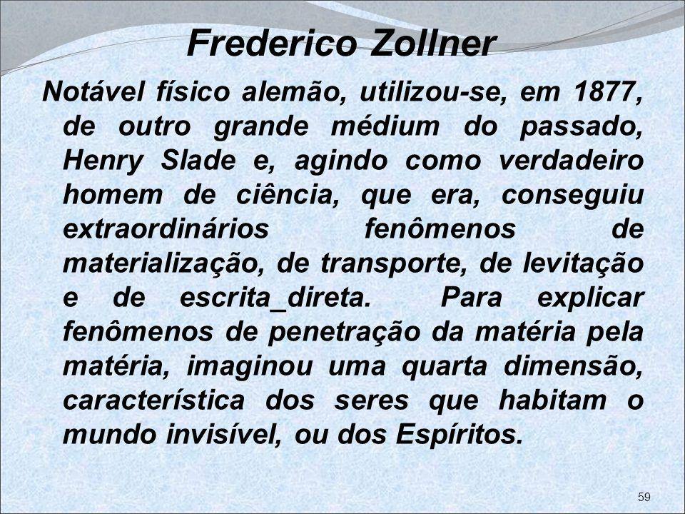 Frederico Zollner Notável físico alemão, utilizou-se, em 1877, de outro grande médium do passado, Henry Slade e, agindo como verdadeiro homem de ciênc