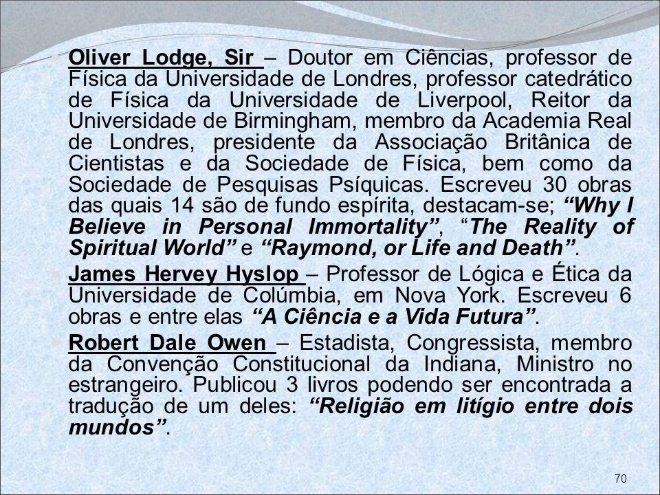 Oliver Lodge, Sir – Doutor em Ciências, professor de Física da Universidade de Londres, professor catedrático de Física da Universidade de Liverpool,