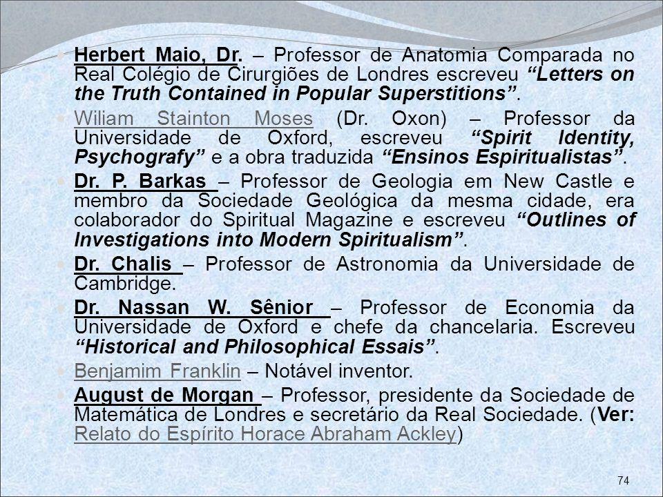 Herbert Maio, Dr. – Professor de Anatomia Comparada no Real Colégio de Cirurgiões de Londres escreveu Letters on the Truth Contained in Popular Supers