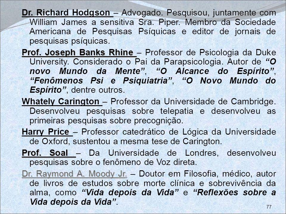 Dr. Richard Hodgson – Advogado. Pesquisou, juntamente com William James a sensitiva Sra. Piper. Membro da Sociedade Americana de Pesquisas Psíquicas e