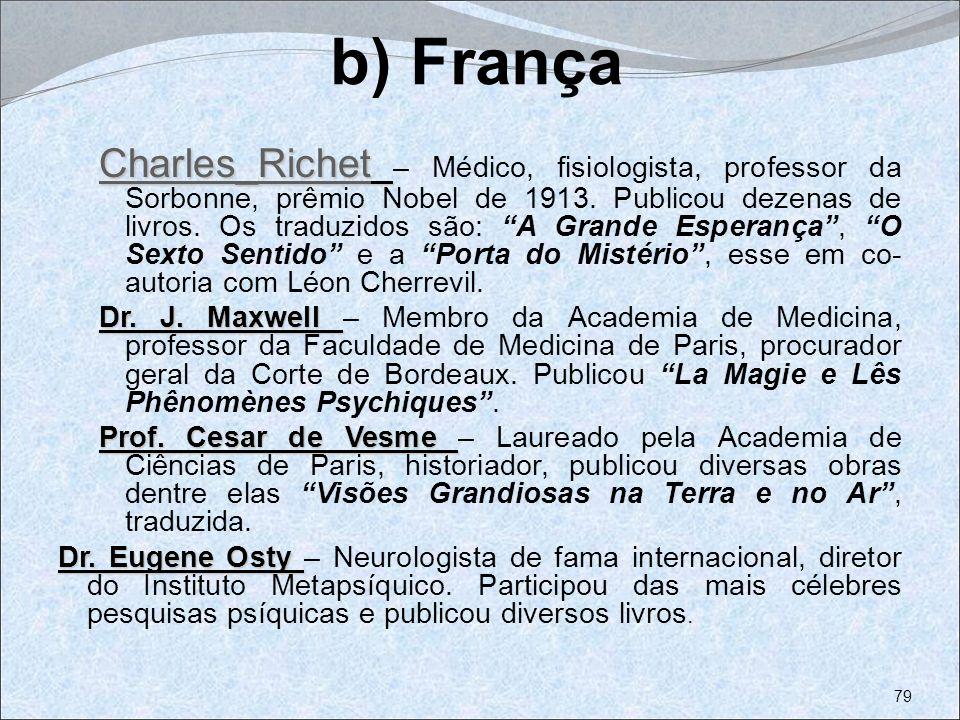 b) França Charles_Richet Charles_Richet Charles_Richet – Médico, fisiologista, professor da Sorbonne, prêmio Nobel de 1913. Publicou dezenas de livros