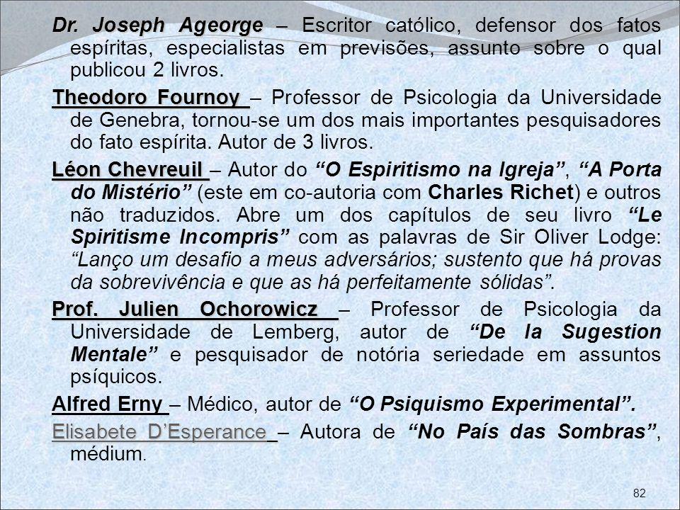 Dr. Joseph Ageorge Dr. Joseph Ageorge – Escritor católico, defensor dos fatos espíritas, especialistas em previsões, assunto sobre o qual publicou 2 l