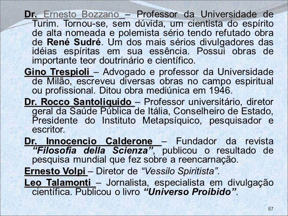 Dr. Ernesto_Bozzano Dr. Ernesto_Bozzano – Professor da Universidade de Turim. Tornou-se, sem dúvida, um cientista do espírito de alta nomeada e polemi