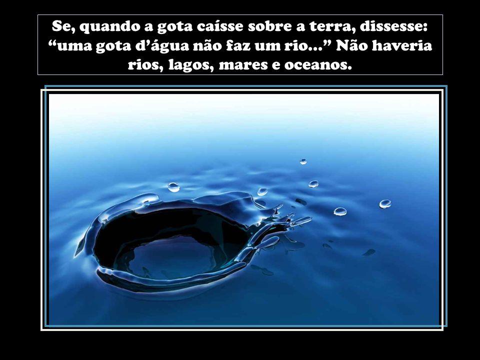 Se, quando a gota caísse sobre a terra, dissesse: uma gota dágua não faz um rio...