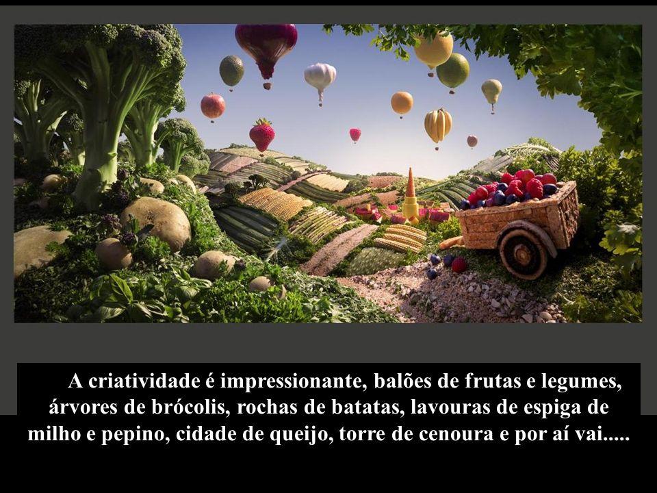 A criatividade é impressionante, balões de frutas e legumes, árvores de brócolis, rochas de batatas, lavouras de espiga de milho e pepino, cidade de q