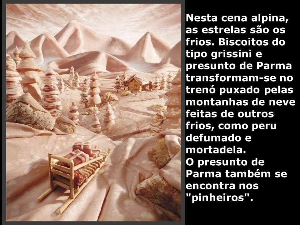 Nesta cena alpina, as estrelas são os frios. Biscoitos do tipo grissini e presunto de Parma transformam-se no trenó puxado pelas montanhas de neve fei