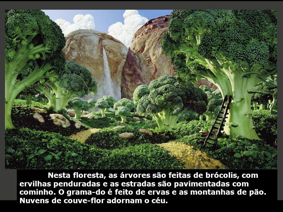 Nesta floresta, as árvores são feitas de brócolis, com ervilhas penduradas e as estradas são pavimentadas com cominho.