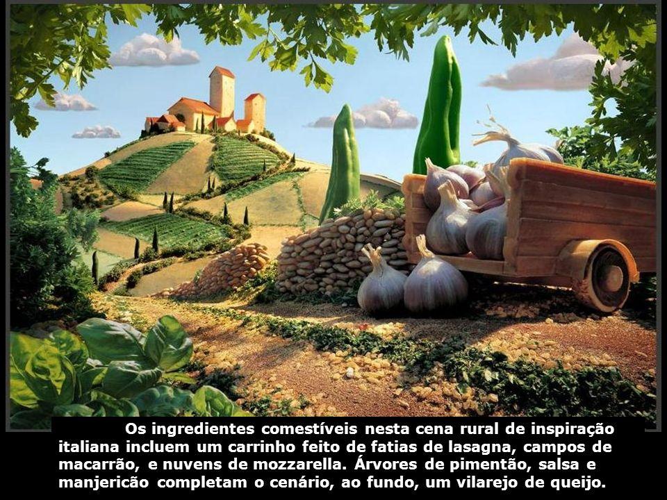 Os ingredientes comestíveis nesta cena rural de inspiração italiana incluem um carrinho feito de fatias de lasagna, campos de macarrão, e nuvens de mo