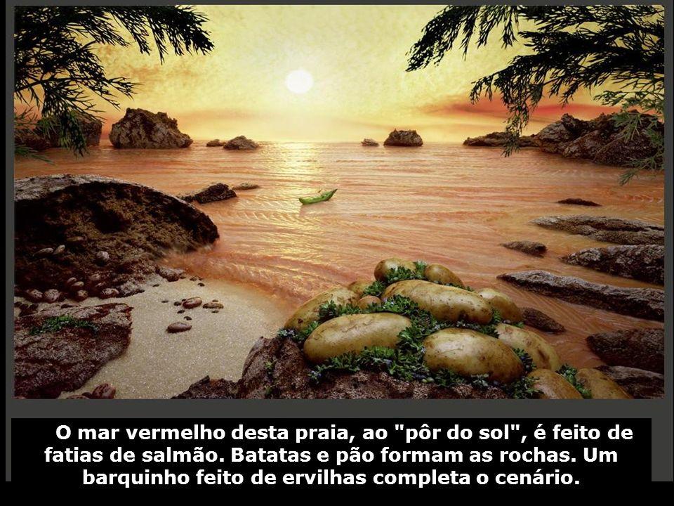 O mar vermelho desta praia, ao pôr do sol , é feito de fatias de salmão.