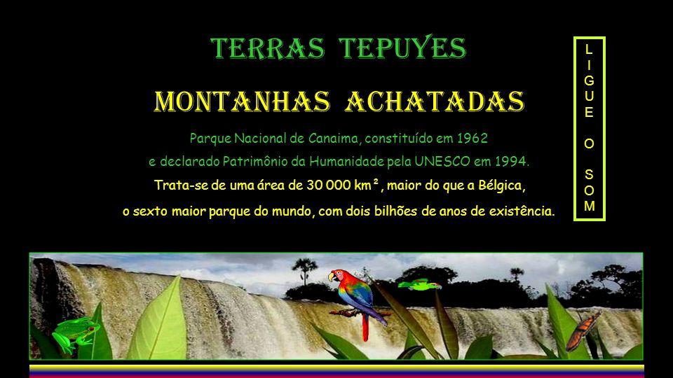 TERRAS TEPUYES MONTANHAS ACHATADAS Parque Nacional de Canaima, constituído em 1962 e declarado Patrimônio da Humanidade pela UNESCO em 1994.