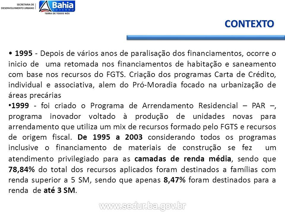 CONTEXTO 1995 - Depois de vários anos de paralisação dos financiamentos, ocorre o inicio de uma retomada nos financiamentos de habitação e saneamento com base nos recursos do FGTS.