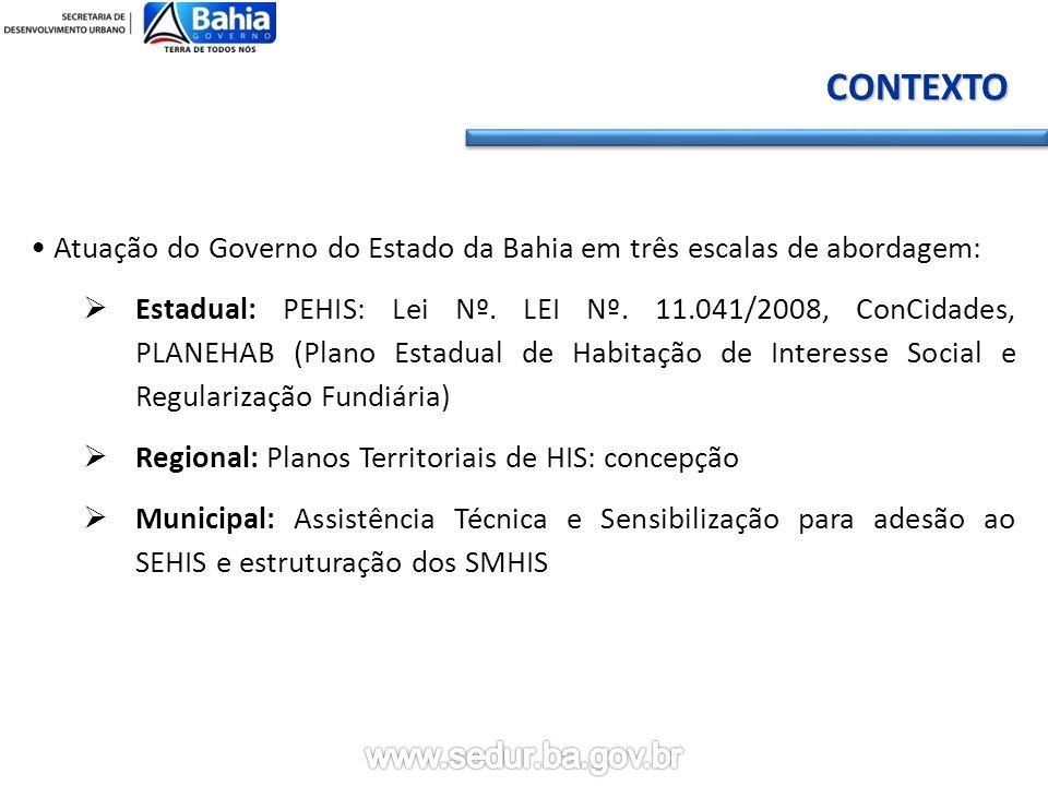CONTEXTO Atuação do Governo do Estado da Bahia em três escalas de abordagem: Estadual: PEHIS: Lei Nº.