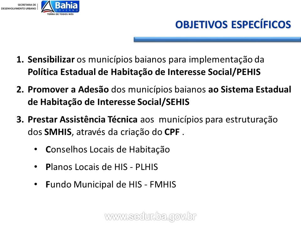 Capacitação de técnicos e Conselheiros do ConCidades Bahia em parceria com a SGT/SEDUR (2011) Atendimento a 114 municípios baianos para apoiar a elaboração dos PLHIS (2012-2013).