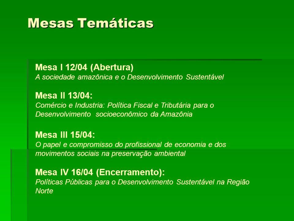 Mesas Temáticas Mesa I 12/04 (Abertura) A sociedade amazônica e o Desenvolvimento Sustentável Mesa II 13/04: Comércio e Industria: Política Fiscal e T