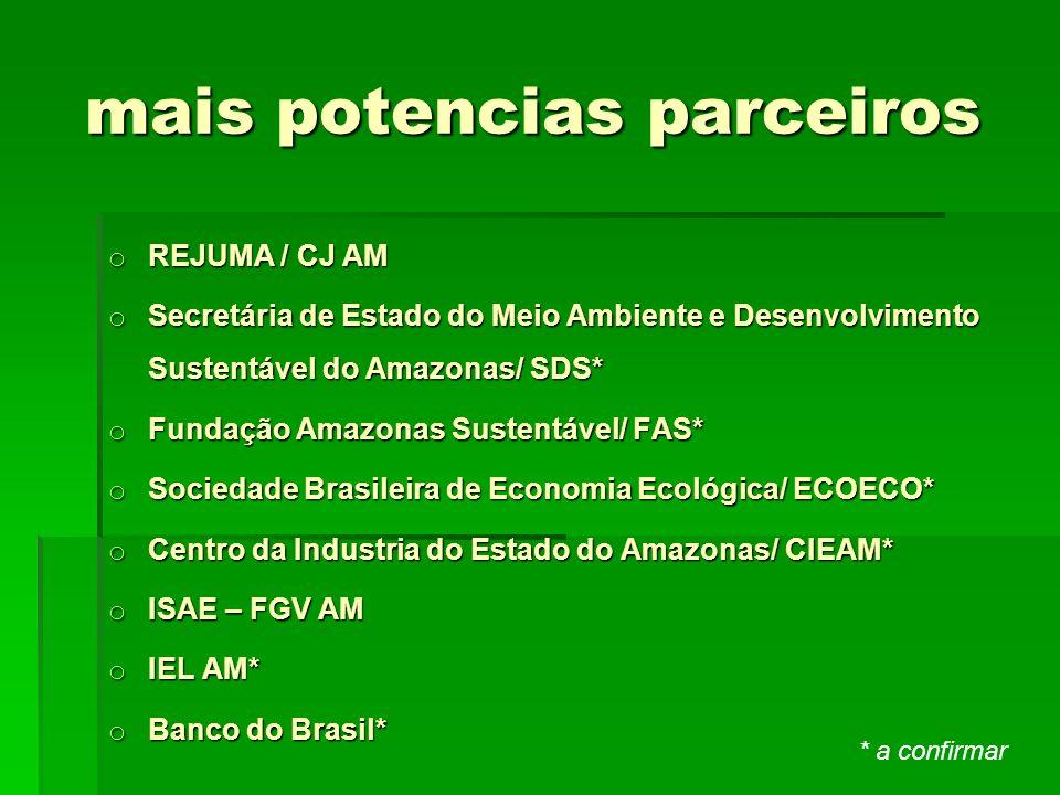 mais potencias parceiros mais potencias parceiros o REJUMA / CJ AM o Secretária de Estado do Meio Ambiente e Desenvolvimento Sustentável do Amazonas/