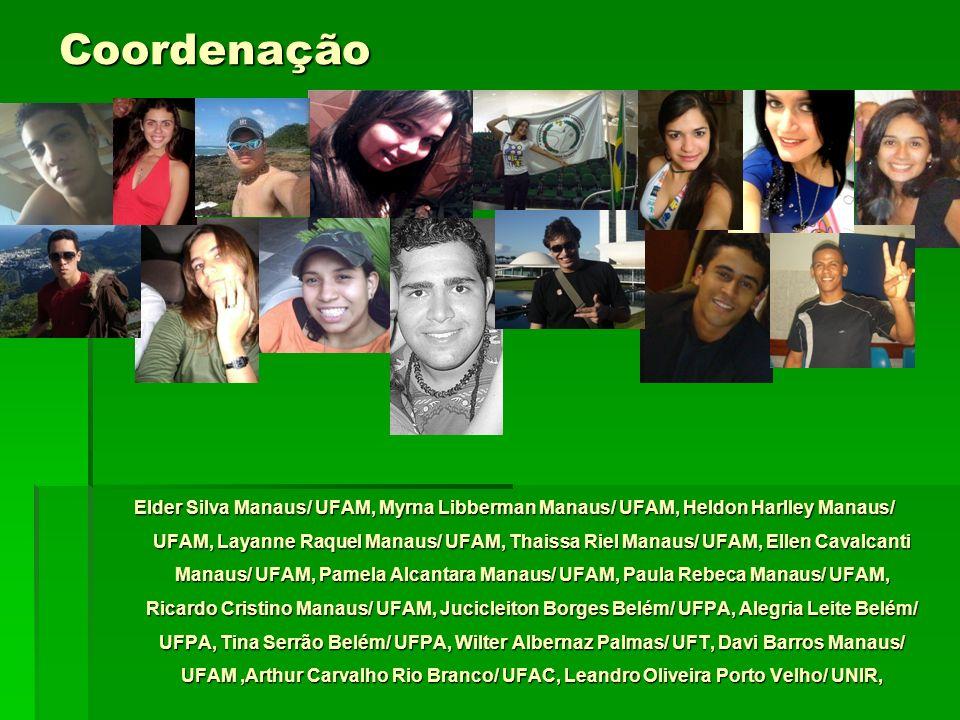 Coordenação Elder Silva Manaus/ UFAM, Myrna Libberman Manaus/ UFAM, Heldon Harlley Manaus/ UFAM, Layanne Raquel Manaus/ UFAM, Thaissa Riel Manaus/ UFA