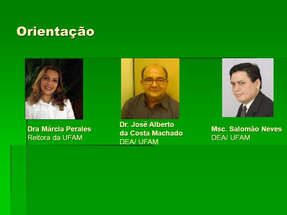 Orientação Dra Márcia Perales Reitora da UFAM Dr. José Alberto da Costa Machado DEA/ UFAM Msc. Salomão Neves DEA/ UFAM