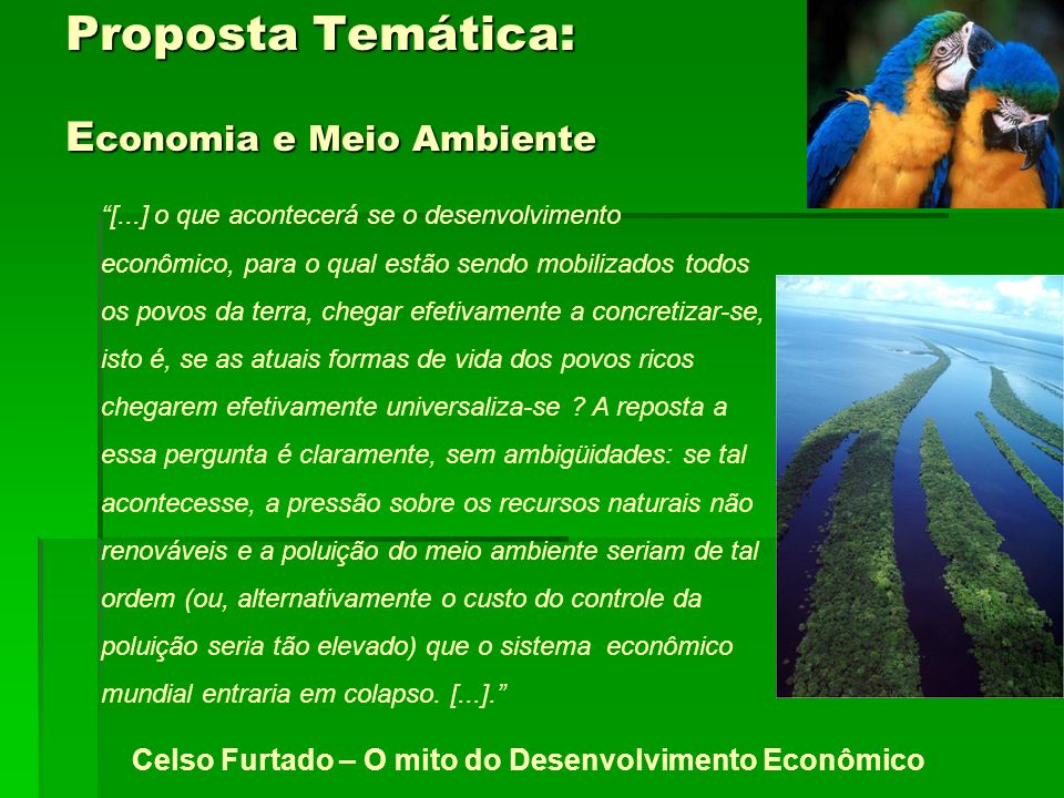 Proposta Temática: E conomia e Meio Ambiente [...] o que acontecerá se o desenvolvimento econômico, para o qual estão sendo mobilizados todos os povos