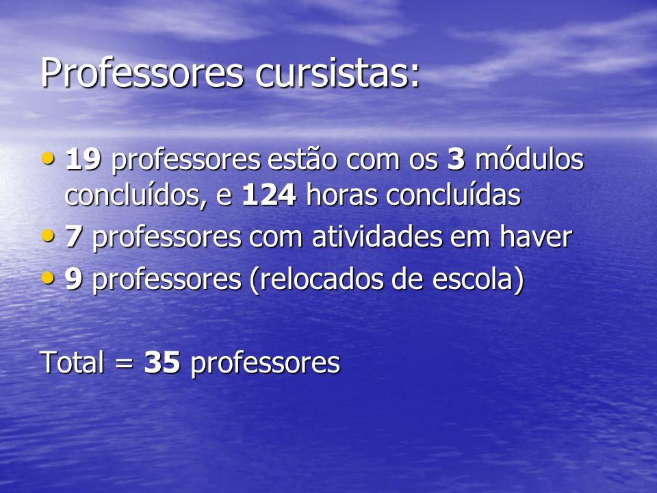 Professores cursistas: 19 professores estão com os 3 módulos concluídos, e 124 horas concluídas 19 professores estão com os 3 módulos concluídos, e 12
