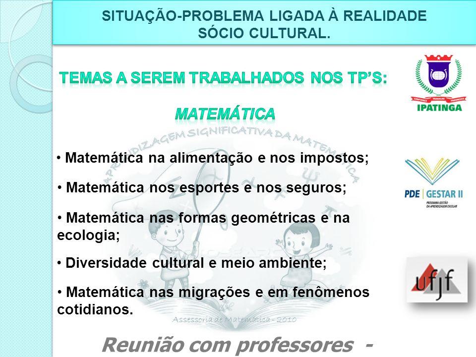 Matemática na alimentação e nos impostos; Matemática nos esportes e nos seguros; Matemática nas formas geométricas e na ecologia; Diversidade cultural