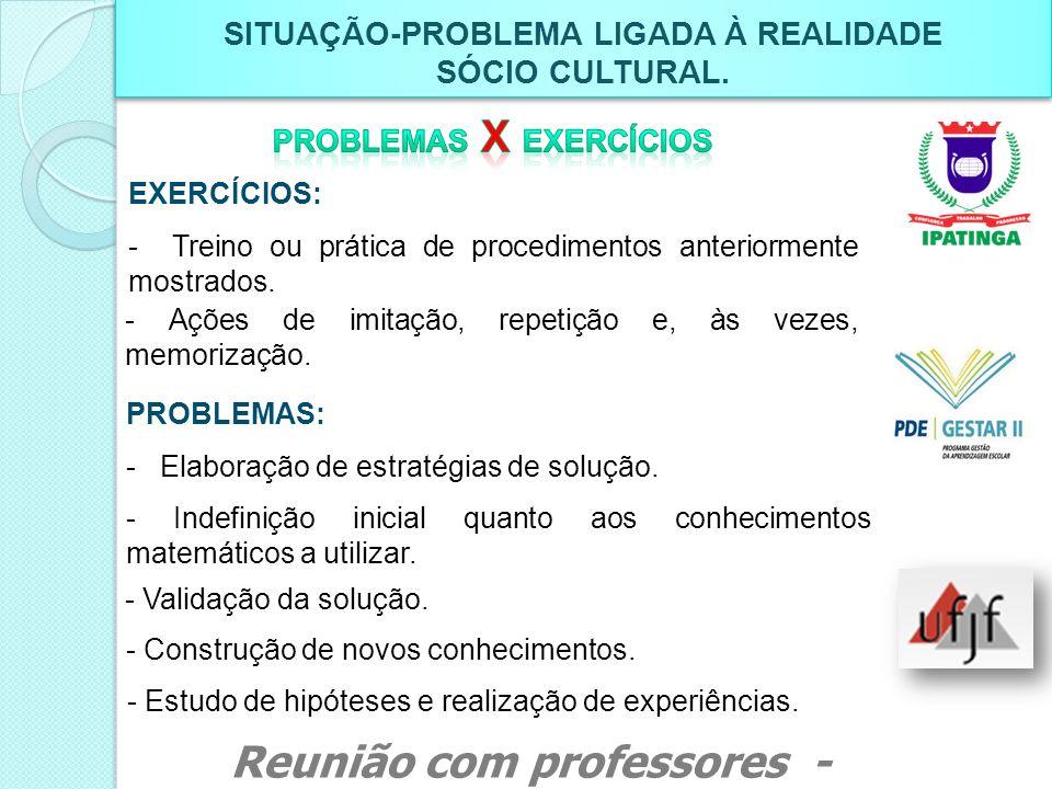 SITUAÇÃO-PROBLEMA LIGADA À REALIDADE SÓCIO CULTURAL. SITUAÇÃO-PROBLEMA LIGADA À REALIDADE SÓCIO CULTURAL. EXERCÍCIOS: - Treino ou prática de procedime