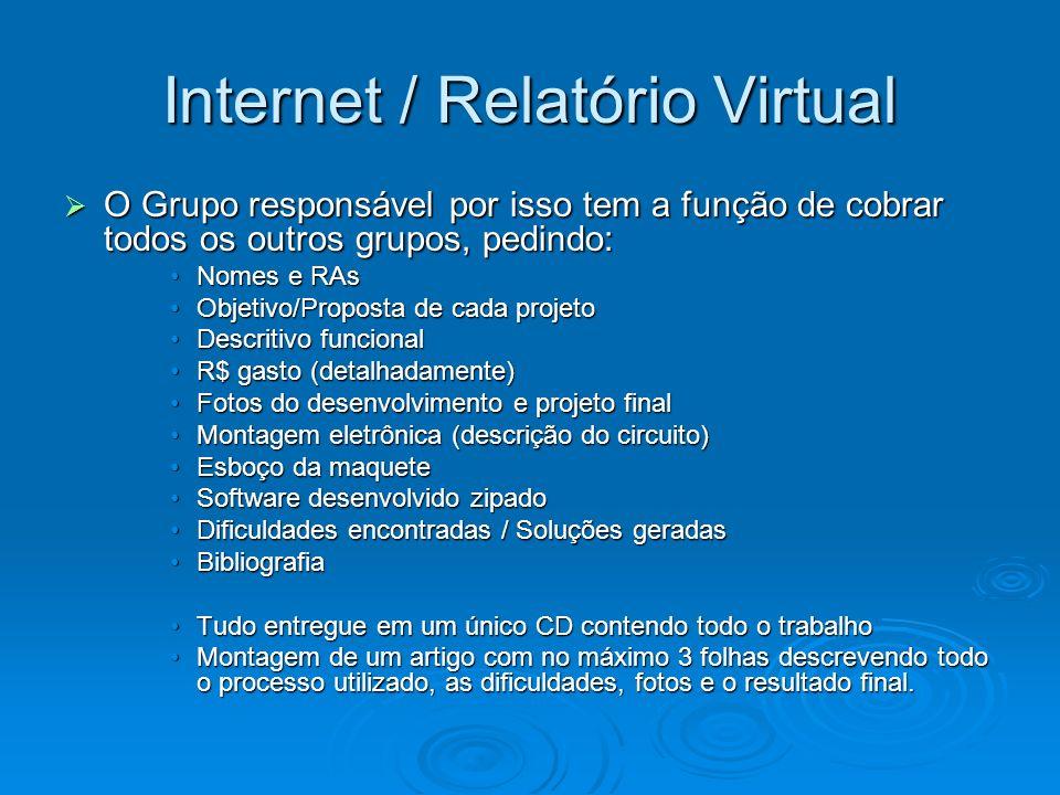 Internet / Relatório Virtual O Grupo responsável por isso tem a função de cobrar todos os outros grupos, pedindo: O Grupo responsável por isso tem a f