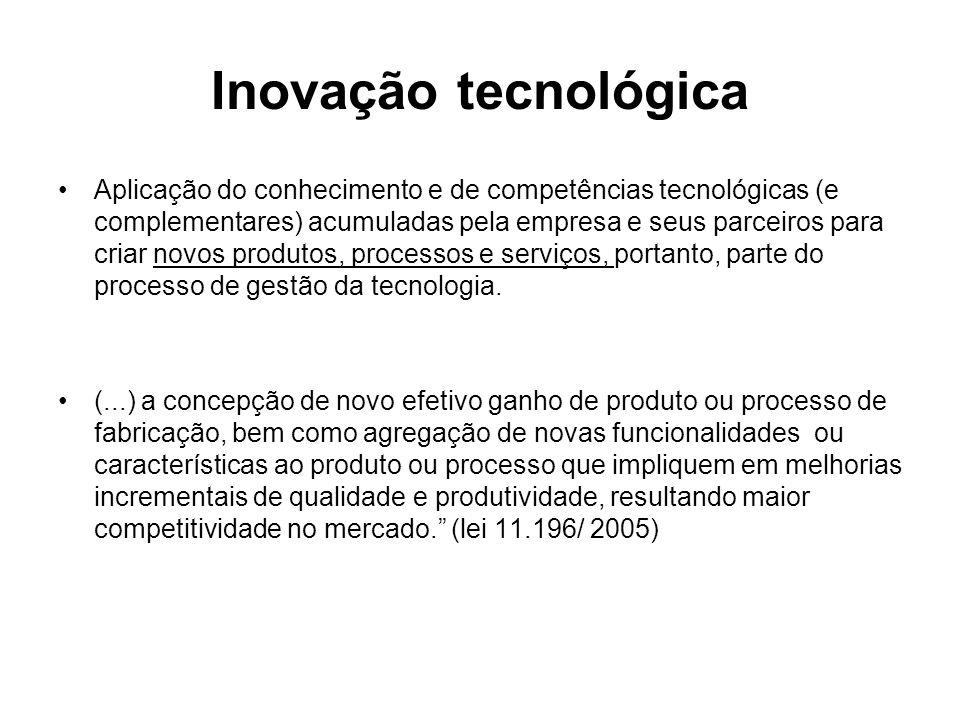 Inovação tecnológica Aplicação do conhecimento e de competências tecnológicas (e complementares) acumuladas pela empresa e seus parceiros para criar novos produtos, processos e serviços, portanto, parte do processo de gestão da tecnologia.