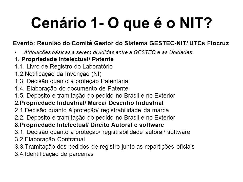 Cenário 1- O que é o NIT.Atribuições básicas a serem divididas entre a GESTEC e as Unidades: 1.