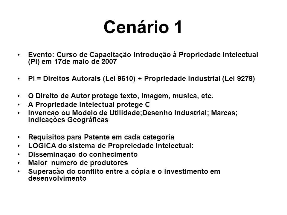 Cenário 1 Evento: Curso de Capacitação Introdução à Propriedade Intelectual (PI) em 17de maio de 2007 PI = Direitos Autorais (Lei 9610) + Propriedade Industrial (Lei 9279) O Direito de Autor protege texto, imagem, musica, etc.