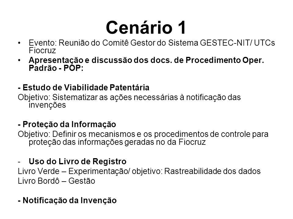 Cenário 1 Evento: Reunião do Comitê Gestor do Sistema GESTEC-NIT/ UTCs Fiocruz Apresentação e discussão dos docs.