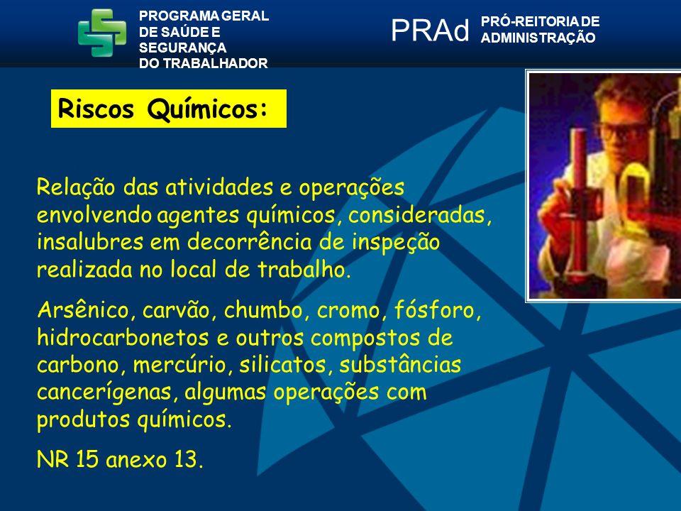 Relação das atividades e operações envolvendo agentes químicos, consideradas, insalubres em decorrência de inspeção realizada no local de trabalho.