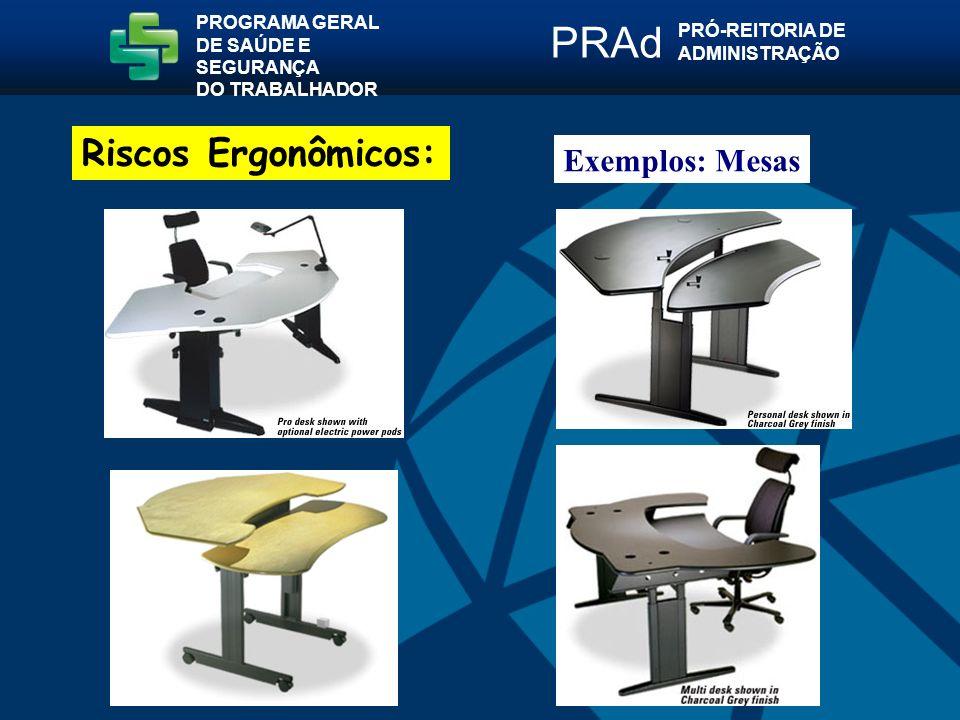 Exemplos: Mesas PROGRAMA GERAL DE SAÚDE E SEGURANÇA DO TRABALHADOR PRÓ-REITORIA DE ADMINISTRAÇÃO PRAd Riscos Ergonômicos: