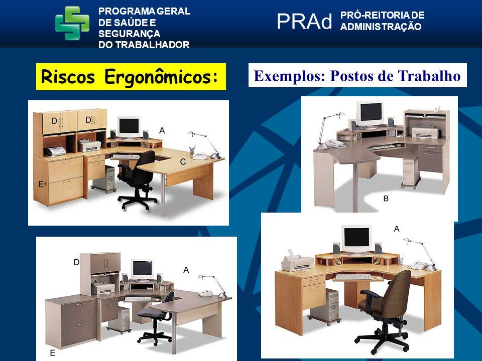 Exemplos: Postos de Trabalho PROGRAMA GERAL DE SAÚDE E SEGURANÇA DO TRABALHADOR PRÓ-REITORIA DE ADMINISTRAÇÃO PRAd Riscos Ergonômicos: