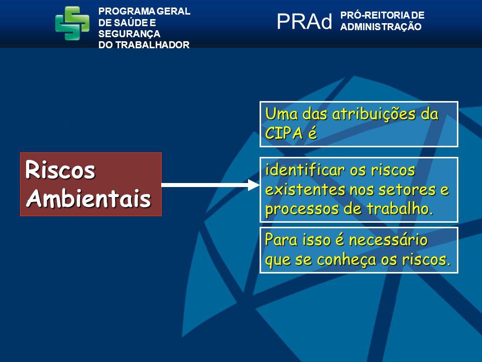 Riscos Ambientais Uma das atribuições da CIPA é identificar os riscos existentes nos setores e processos de trabalho.