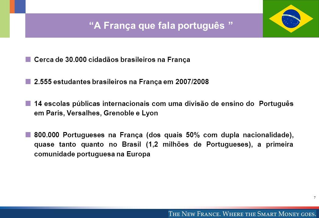 7 Cerca de 30.000 cidadãos brasileiros na França 2.555 estudantes brasileiros na França em 2007/2008 14 escolas públicas internacionais com uma divisã