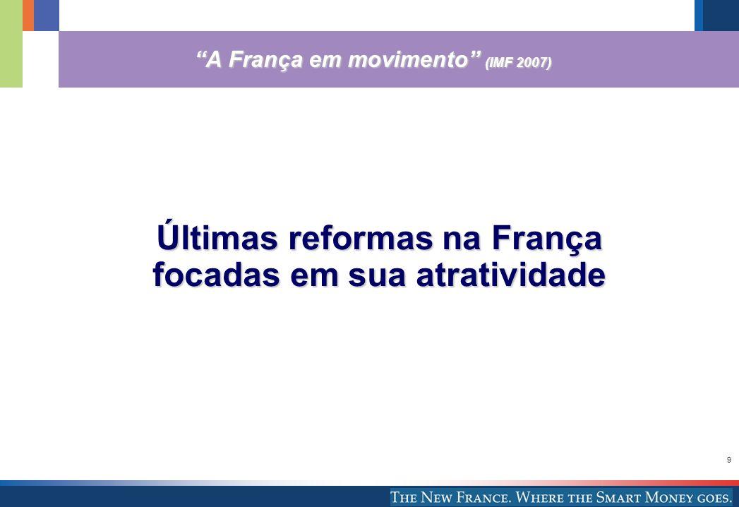 9 A França em movimento (IMF 2007) Últimas reformas na França focadas em sua atratividade