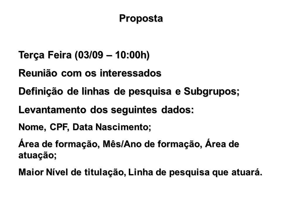 Proposta Terça Feira (03/09 – 10:00h) Reunião com os interessados Definição de linhas de pesquisa e Subgrupos; Levantamento dos seguintes dados: Nome,