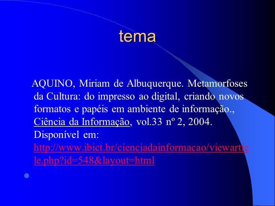 tema AQUINO, Miriam de Albuquerque. Metamorfoses da Cultura: do impresso ao digital, criando novos formatos e papéis em ambiente de informação., Ciênc