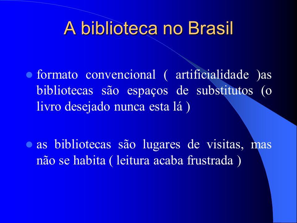A biblioteca no Brasil formato convencional ( artificialidade )as bibliotecas são espaços de substitutos (o livro desejado nunca esta lá ) as bibliote